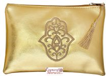 "Moroccan Pouch Clutch Bag with Hamsa Design Handmade Gold Medium 20 cm x 14 cm / 8"" x 5.4"""